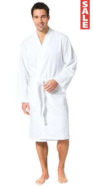 Men's 100% Turkish Cotton Terry Kimono Robe - White, Terry Cloth Robes