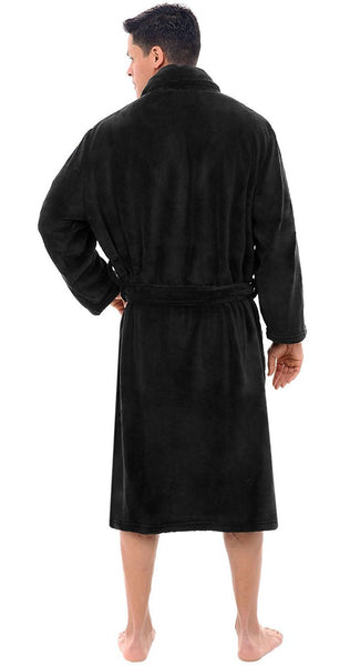 Men's Fleece Shawl Collar Robe - Black, Fleece Robes