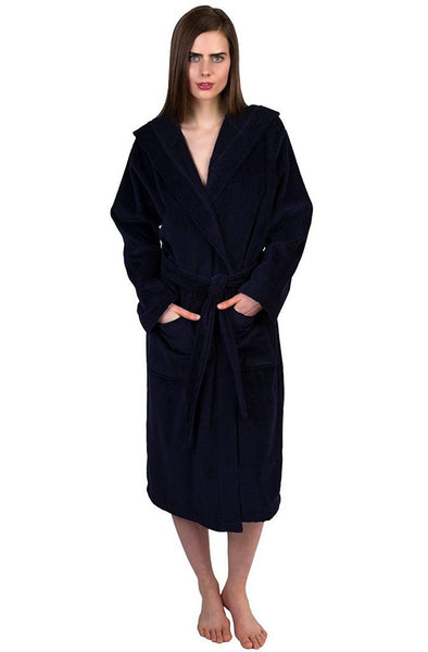 Monogrammed Hotel Bathrobe in Bulk - Navy Blue, Terry Cloth Robes