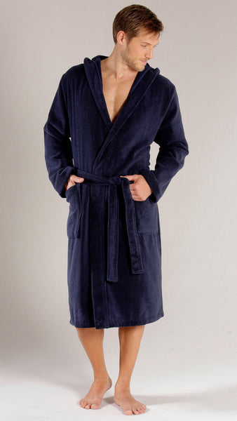 6f9308ba74 ... Men s Full Length Terry Velour Hooded Robe - Navy Blue