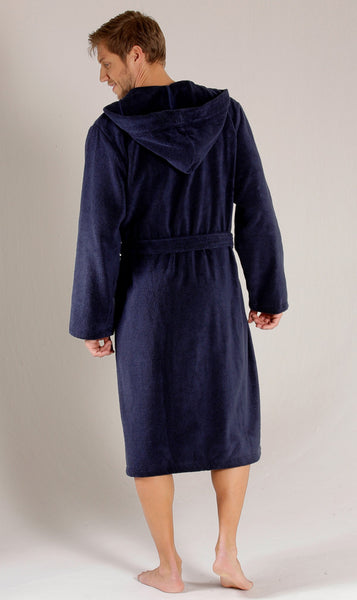 Men's Full Length Terry Velour Hooded Robe - Navy Blue, Terry Cloth Robes