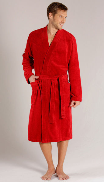 Men's Kimono Style Terry Bathrobe - Red, Terry Cloth Robes