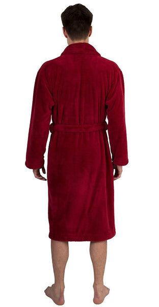 Men's Plush Shawl Collar Robe - Burgundy, Fleece Robes