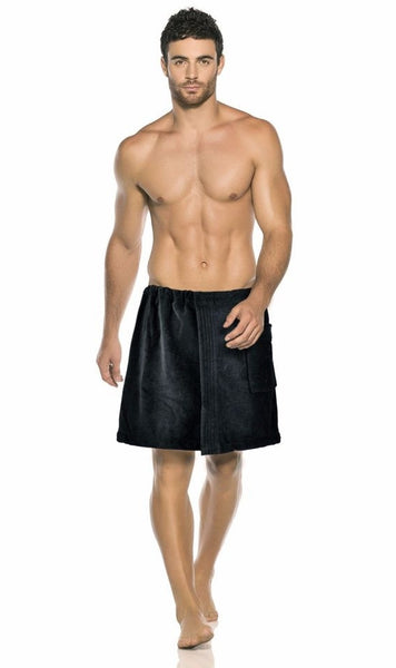 Men's Shower Wrap Towel - Black, Fleece Robes