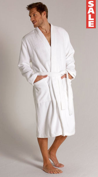 Men's Terry Velour Kimono Robe - White, Terry Cloth Robes