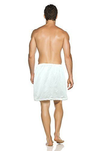 Men's Terry Velour Spa Wrap - White, Fleece Robes