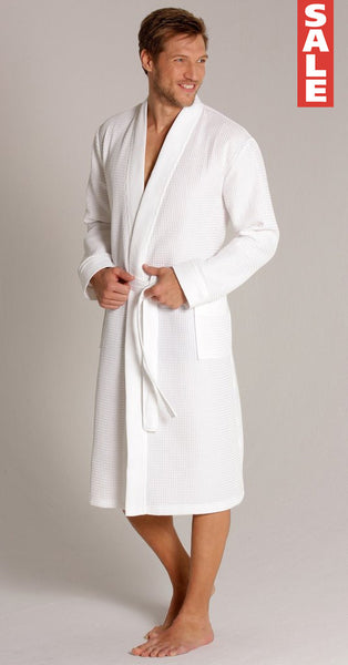 exquisite design 2019 wholesale price best quality for Men's Waffle Knit Kimono Robe - White