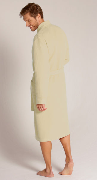 Mid-Calf Length Waffle Weave Kimono Robe - Beige, Terry Cloth Robes