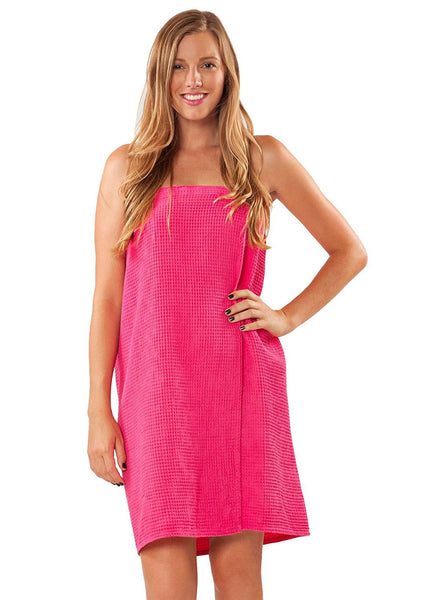 Monogrammed Fraternity Waffle Knit Bath Wrap - Hot Pink, Bath Wraps