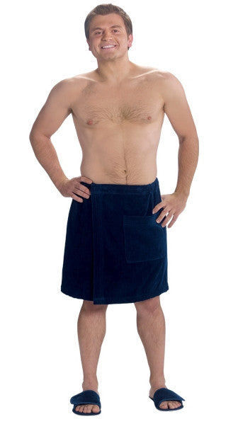 Navy Blue Body Wrap Towel with Front Pocket, Fleece Robes