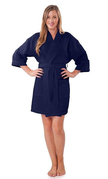 Lightweight Embroidered Waffle Bathrobe in Bulk - Navy Blue, Terry Cloth Robes