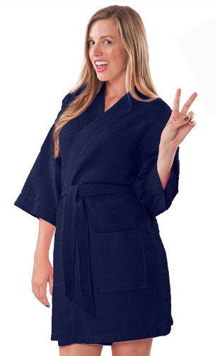 Lightweight Embroidered Waffle Bathrobe in Bulk - Navy Blue