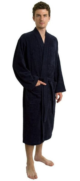 Discount Wholesale Spa Hotel Bathrobe - Navy Blue, Terry Cloth Robes