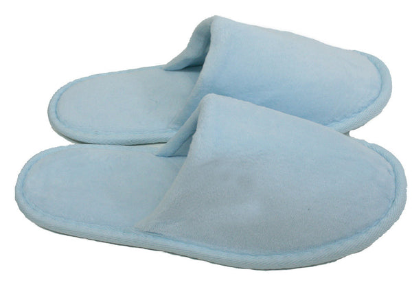 Non-Skid Closed Toe Spa Slippers Terry Velour Wholesale - Sky Blue