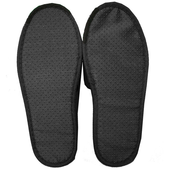 Open Toe Terry Velour Indoor Hotel Guest Slippers - Black