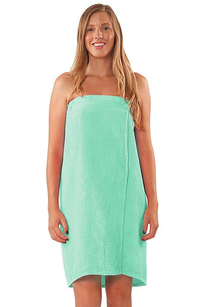 Personalized Bath Wrap Towel with Velcro Closure - Mint Green