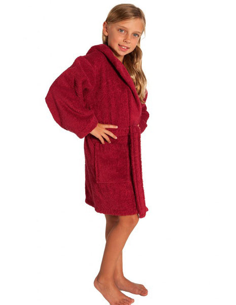 Personalized Kids Spa Hotel Bath Robe with Hood - Burgundy, Kid's Robe