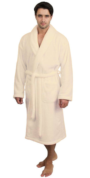 Customized Ultra Soft Microfleece Bathrobe - Beige, Fleece Robes