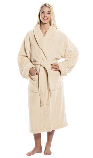Personalized Ultra Soft Tahoe Microfleece Robe - Beige, Fleece Robes