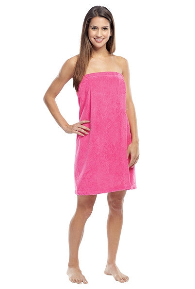 Women's Terry Cloth Bath Wrap with Velcro Closure - Hot Pink, Bath Wraps