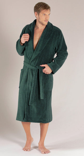 Plush Cotton Terry Comfy Shawl Collar Bathrobe - Forest Green,