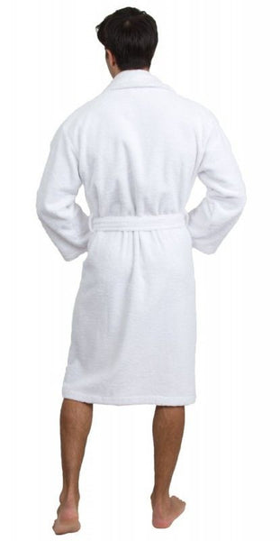 Plush Terry Cloth Bath Robe with Shawl Collar - White, Terry Cloth Robes
