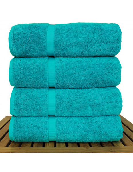 Quick Dry Turkish Luxury Bath Towel Set - Aqua Blue - Set of 4, Bath Towels
