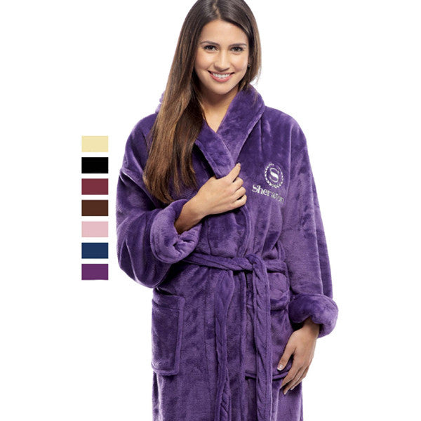 Women's Plush Shawl Collar Bath Robe - Burgundy, Fleece Robes