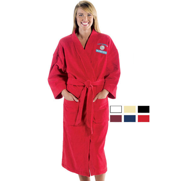 Mid Calf Length Briedsmaids Embroidered Spa Bathrobe- Red, Terry Cloth Robes