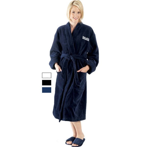 Towel Terry Velour Robe with Shawl Collar - Navy Blue, Terry Cloth Robes