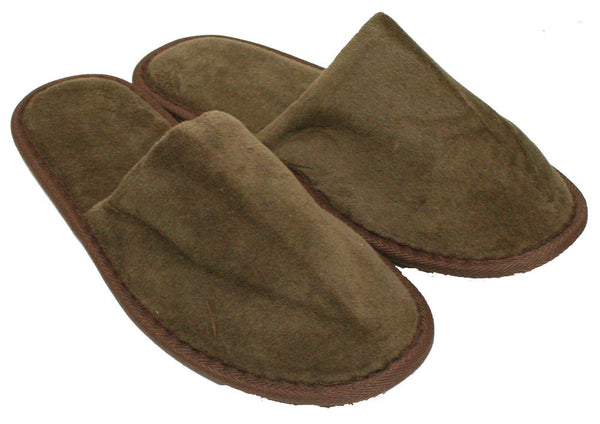 Spa & Hotel Terry Closed Toe Slippers in Bulk - Brown, Slippers