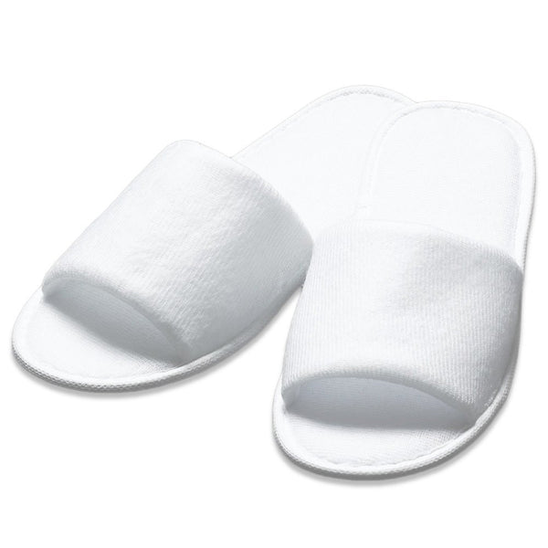 8878b9ea1f260 ... Open Toe Terry Cloth Adult Spa Slippers - White