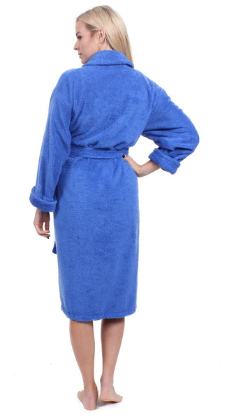 Super Absorbent & Cozy Shawl Collar Terry Robe - Royal Blue