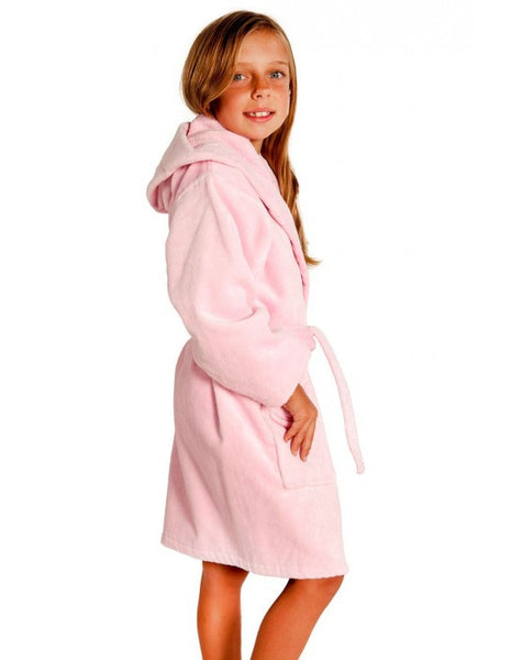 Super Soft Plush Hooded Robe for Girls - Pink, Kid's Robe