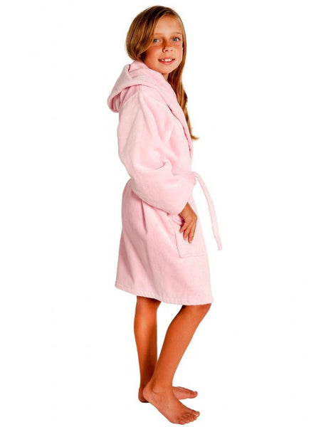 Super Soft Plush Hooded Robe for Girls - Pink