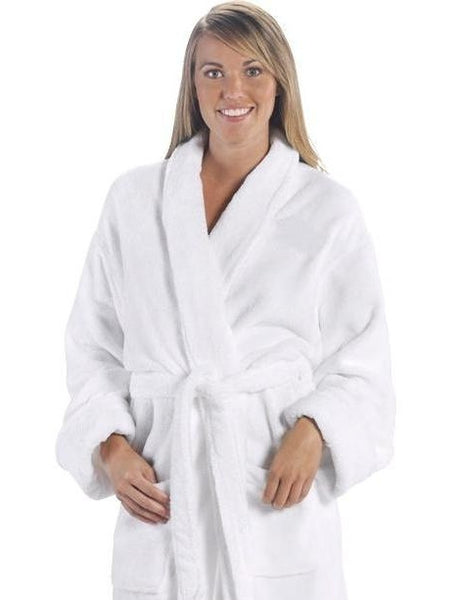 Super Soft Tahoe Microfleece Shawl Collar Bath Robe - White, Fleece Robes