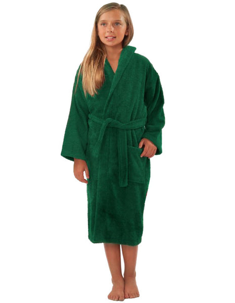 Terry 100% Cotton Long Sleeve Hooded Robe for Kids - Green, Kid's Robe