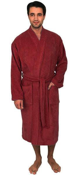 Terry Cloth Robe Kimono Collar for Men - Burgundy, Terry Cloth Robes