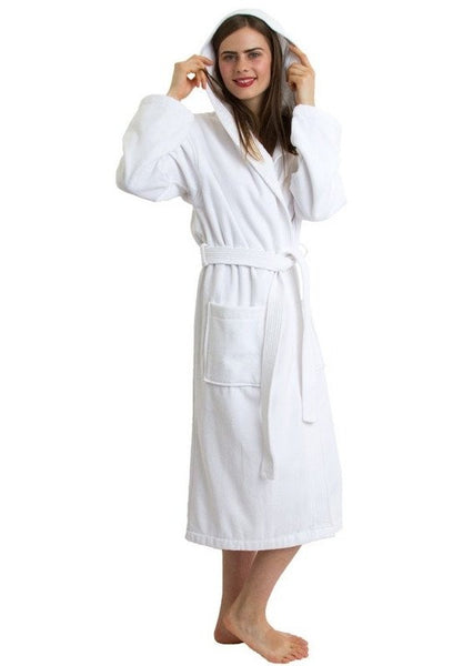 Customized Terry Velour Spa Robe with Hood - White, Terry Cloth Robes