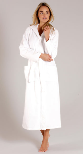 Terry Velour Cotton Long Sleeve Hooded Robe for Women - White, Terry Cloth Robes
