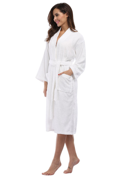 Women's Wholesale Cotton Terry Kimono Robe - White, Terry Cloth Robes