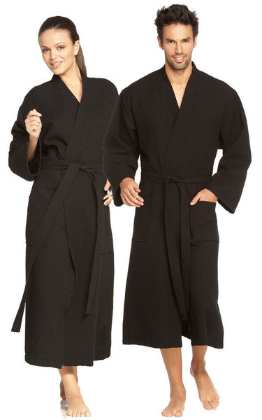 Women's Lightweight Full Length Waffle Weave Robe - Black, Waffle Robes