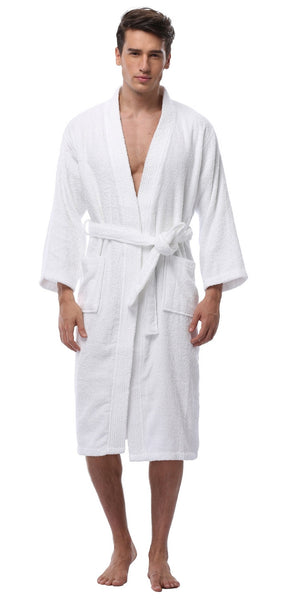 Men's Wholesale Cheap Terry Cloth Cotton Kimono Style Bathrobe - White