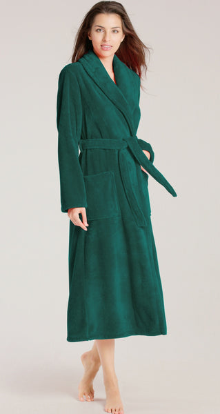 Women's Plush Terry Cloth Shawl Collar Bathrobe - Forest Green, Terry Cloth Robes