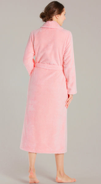 Ultra Soft Plush Shawl Collar Terry Robe - Pink, Terry Cloth Robes
