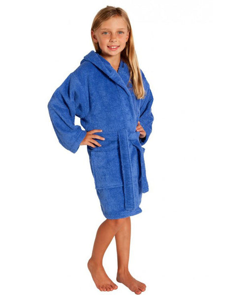 Terry Towel Bathrobe for Boys and Girls in Hotel/Spa Quality - Royal Blue, Kid's Robe