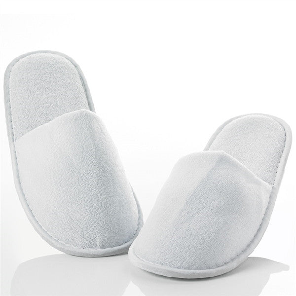 Terry Velour Closed Toe Hotel Spa Slippers Wholesale- White, Slippers