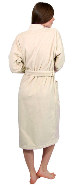 Terry Velour Kimono Collar Robe 100% Cotton - Beige, Terry Cloth Robes