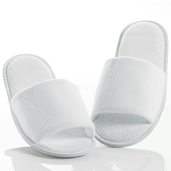 Open Toe Terry Cloth Adult Spa Slippers - White, Slippers