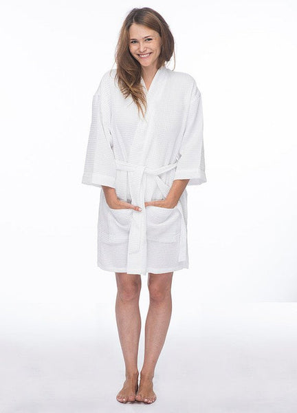 Wholesale Thigh Length Waffle Weave Kimono Hotel Bathrobe - White, Terry Cloth Robes